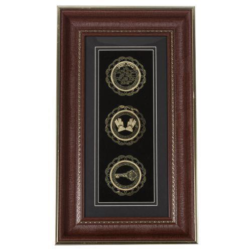 """מסגרת עץ מהודרת עם פלקטה זהב ומסגרת חומה """"ברכת הבית"""" 49*28 סמ"""