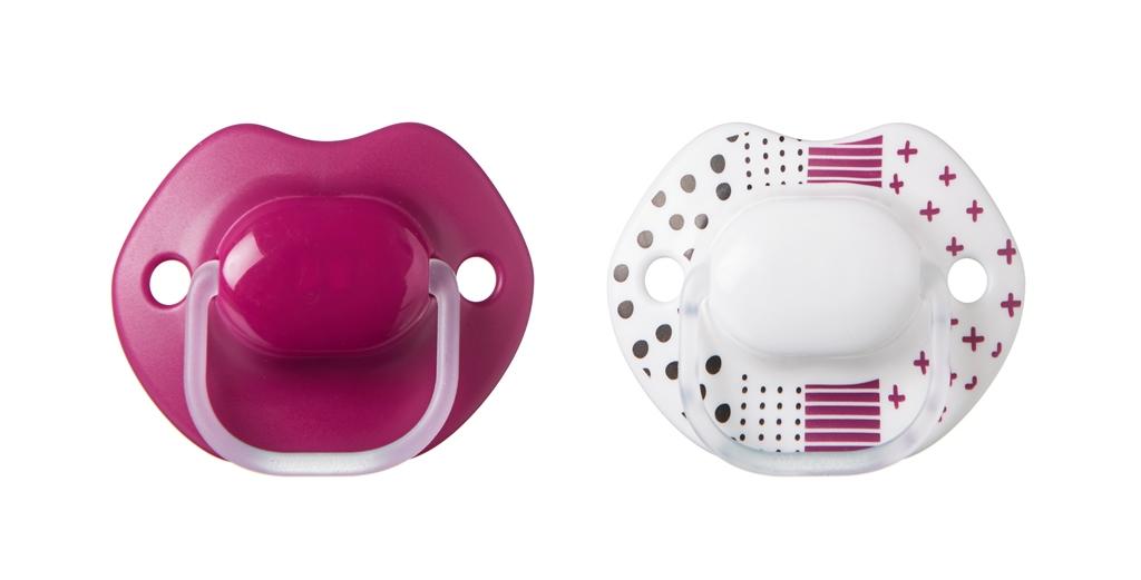 הכי טבעי זוג מוצצים בעיצוב אורבני 6-18 בורדו/לבן