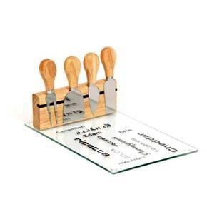 מגש הגשה לגבינות מזכוכית משולב עם 4 סכיני חיתוך