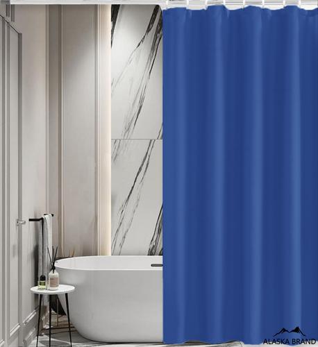 וילון אמבטיה איכותי בגוון חלק במבחר מידות צבע - כחול