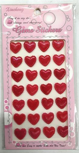 מדבקות לבבות פלסטיק אדום