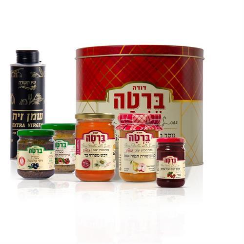 מארז דבש ושמן זית בקופסת פח מעוצבת