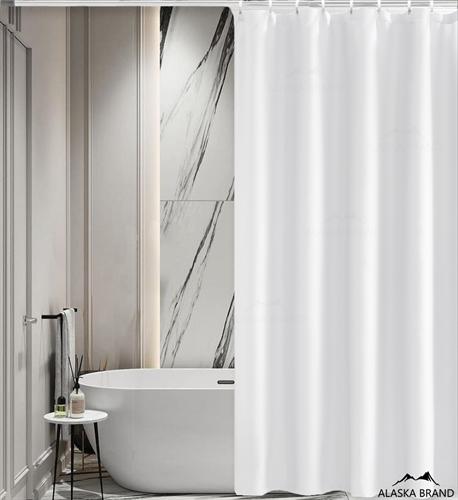 וילון אמבטיה איכותי בגוון חלק במבחר מידות צבע - לבן