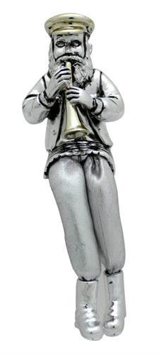 """חסיד יושב מפוליריזן מוכסף עם רגלי בד כסף מנגן בקלרינט 15 ס""""מ"""