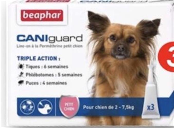 Cani guard  Sאמפולות לטיפול בפרעושים וקרציות לגזע קטן--2-7 קג