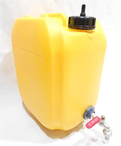 מיכל צהוב עם ברז כדורי מים לשטח 18 ליטר עם נשם