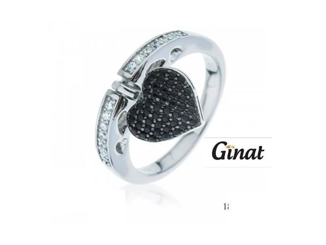 טבעת  לב שחור נופל