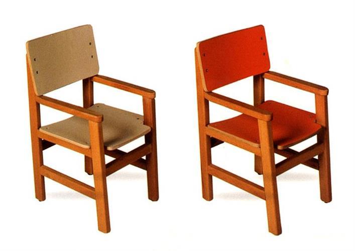 כיסא בוק עץ צבעוני עם ידיות