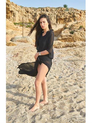 בגד חוף שיפון שחור