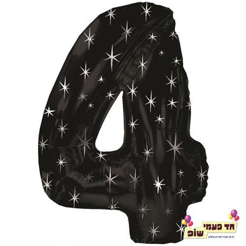 בלון 34 אינץ' 4 שחור כוכבים (ללא הליום)