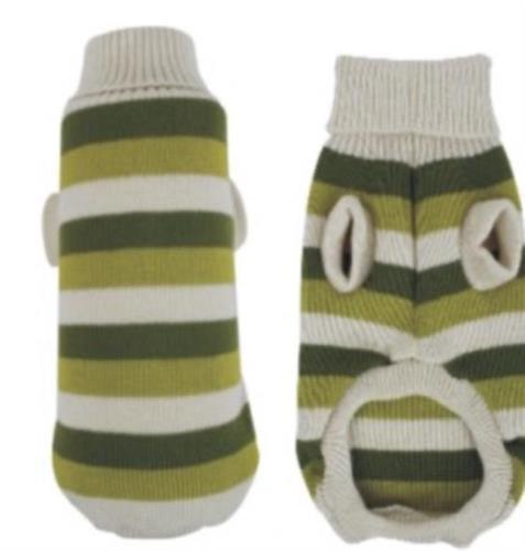 סוודר  פסים ירוק קרם לכלב 5-10 קג